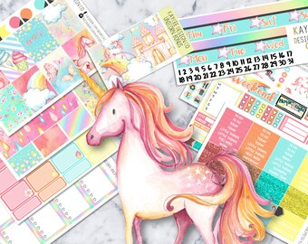 ULTIMATE Weekly Kit / Randy The Unicorn / Planner Stickers /  Fits Erin Condren Vertical & MAMBI / Watercolor / Hand Drawn