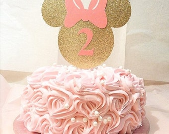 Minnie Mouse-cake topper-custom birthday topper-glitter topper-light pink-black and pink Minnie Mouse- birthday Minnie Mouse theme