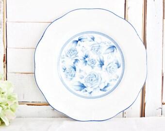 "Vintage Arita Blue Damask Salad Plate 8""   Vintage Plate, Blue Flower Plate, Blue Plate, Pretty Plate, Everyday Plate"