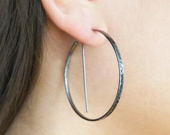 Black Hoops, Large Hoop Earrings, Oxidised Earrings, Edgy Earrings, Boho Earrings, Modern Earrings, Simple Hoops, Gothic Earrings, Minimal