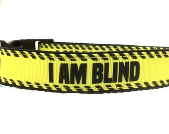 I Am Blind Dog Collar | Blind Dog Collar | Blind Dog Leash | Blind Dog Harness | Personalized Dog Collar | Safety Collar | Step In Harness