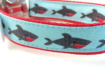 Shark Dog Collar, Leash or Harness with Personalized Engraved Buckle Option