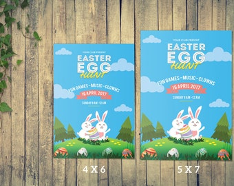 Instant Download , Easter Flyer Template | Easter Egg Hunt Invitation Card Template | Photoshop and MS Word Template