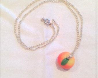 Pink peach pendant necklace