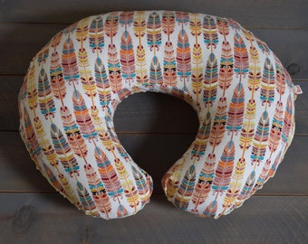 Nursing Pillow Cover Boho Feather for Boppy Pillow, Feathers Breastfeeding Pillow Slipcover, Boho Nursery