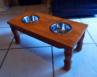 Custom Made Pine Wood Elevated Dog Feeding Bowls for Medium or Small Dogs Furniture Quality