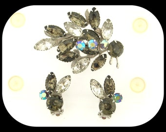 Vintage Signed BEAU JEWELS Set Demi Parure Smokey & AB Aurora Borealis Rhinestone Brooch + Earrings