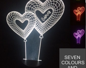 Two Love Heart Balloons - Optical Illusion 3D LED Acrylic Lamp 7 Colour Changing