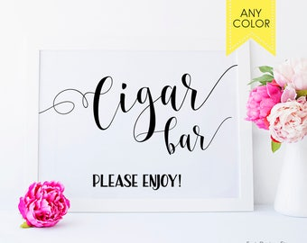 Wedding cigars bar sign Printable wedding decoration Wedding Cigar bar Sign for cigar bar wedding Groomsmen cigars party 8x10 wedding sign
