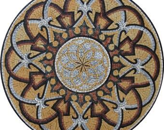 Round Arabesque Design Medallion Marble Mosaic MD1045