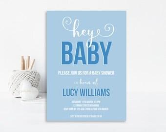 Boy Baby Shower Invite, Printable Baby Shower Invitation, Baby Shower Invitation, Blue Baby Shower, Boy Baby Shower Invitation - Baby Boy