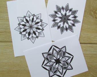 Mini Mandala Art Prints / Set of 3 / A6 Art Prints