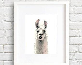Llama Art Print - Wall Decor - Nursery Art - Watercolor Painting