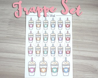 Frappe coffee drinks coffee planner stickers Matte or Glossy  - for use with Erin condren - #15
