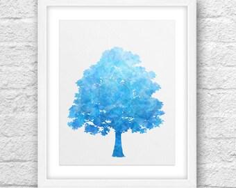 Tree Art, Abstract Tree, Tree Blue , Tree Ciel, Tree Printable, Tree 8x10, Modern Tree, Blue-Ciel Tree, Nature Art,8x10 Printable,Tree Print