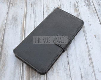 FREE SHIPPING - Black iPhone 6s-Plus Wallet Case - Leather