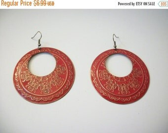 ON SALE Retro Over Sized Gypsy Queen Alloy Very Textured Hammered Earrings 22517