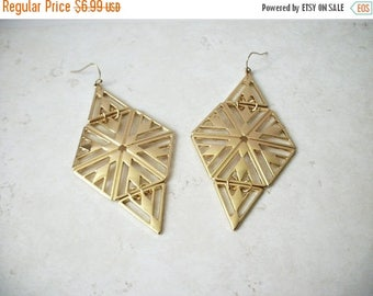 ON SALE Retro Over Sized Gold Tone Open Cut Design 3 1/2 Inches Metal Earrings 42617