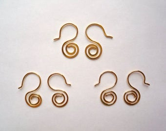 4 pairs of gold plated brass hammered spiral ear wires in 20 gage round wire