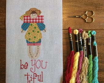 Be-YOU-tiful: a hand-painted needlepoint canvas