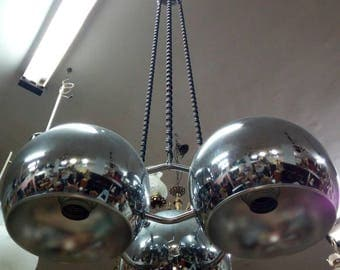 Vintage steel chandelier, 70 years
