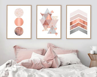 Trending Now Art, Printable Art, Set of 3 Prints, Print Set, Copper, Rose Gold, Blush Pink, DIY Art, Triptych, Scandinavian Prints, Wall Art