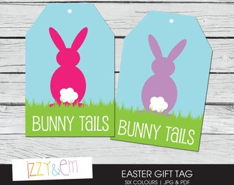 Printable easter bunny gift tags easter kids party favor printable easter tag bunny tails easter gift tag printable gift tag kids easter negle Image collections