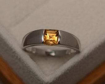 Citrine ring, yellow gemstone, quartz citrine ring, square cut, solitaire ring, anniversary gift,