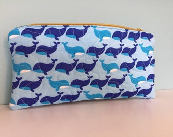Quilted whale zipper pouch