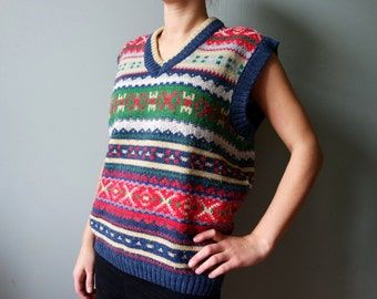 Cristmas Style Vintage Ornamented Vest Wool Vest Blue Red Green White Vest V Neck Medium size Winter Knitwear