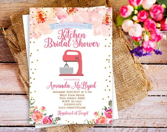 mixer kitchen bridal shower invitation, Kitchen floral bridal shower invite, pampered chef shower invitation, stock the kitchen invitation
