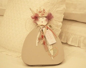 Handmade Wooden Angel With Crown Vintage Fabric Ties Named Patti Plum Free UK Delivery