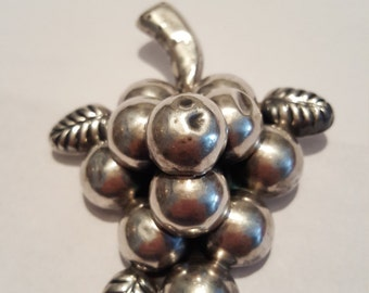 Large Sterling silver Grape Pin brooch Signed CMS