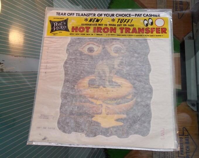 Vintage Iron On Transfer Psychedelic Trippy Kangaroo Hamburger