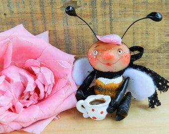 polymer clay bee articulated ooak doll bumble bee with tea cup figurine