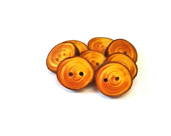 6 Cypress wood buttons, wood buttons for knitting, crochet, sewing and scrapbooking