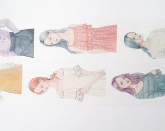 Design Washi tape girls fashion clothes