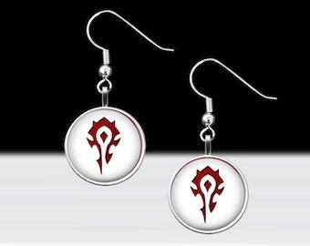 "Horde Dangle Earrings - World of Warcraft Jewelry - Gamer Girl Gift - Pierced Ears Jewelry - 16mm or 5/8"" Charm on 18mm Fish Hook"