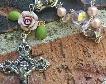 Pink rose car rosary