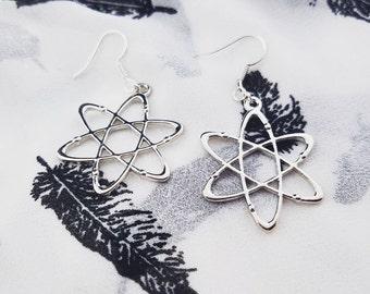 Silver Atom Dangle Earrings