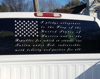 Pledge of Allegiance Decal, American Flag Window Decal