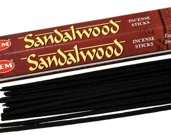 HEM Sandalwood Incense Sticks, Indian Aromatherapy Incense, Pack Of 20 Sticks, Meditation Gift For Daughter Under 10, Reiki Cleansing