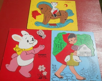 Three Vintage Playskool Wooden Puzzles