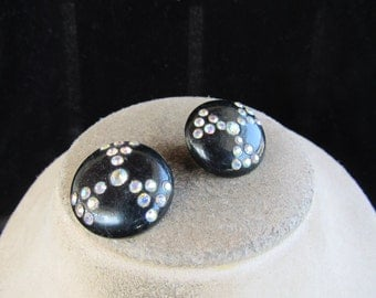 Vintage Pair Of Black Plastic & Irridesent Clip Earrings