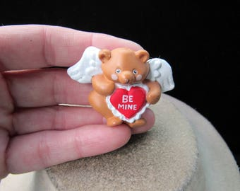 Vintage Valentines Day Teddy Bear Angel Heart Pin-Says Be Mine
