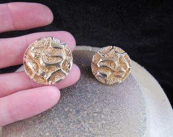Vintage Pair Of Signed Avon Goldtone Clip Earrings