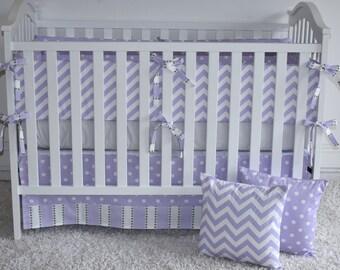 4 PIECE SET- Lavender and grey Crib Bedding, purple bedding, purple chevron, girl crib bedding, purple and grey bedding, custom crib bedding