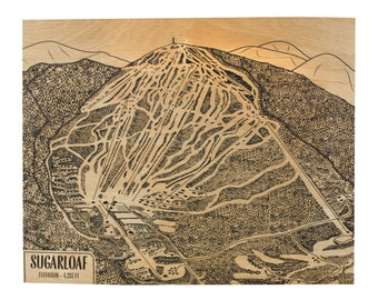 Sugarloaf Trail Map - 16x20 | Sugarloaf Mountain | Sugarloaf USA | Sugarloaf Maine | Trail Map | Ski The East | Carrabassett Valley
