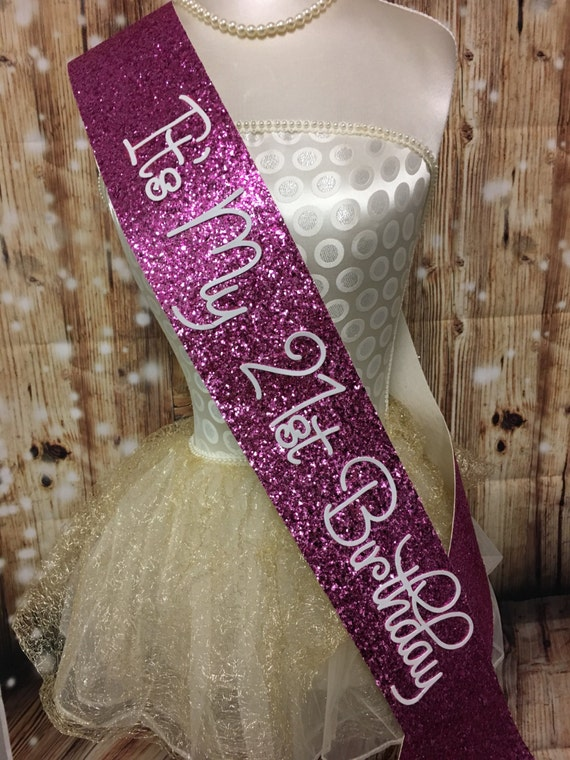 21st birthday sash pink glitter sash personalised sash