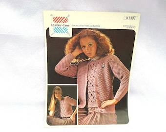 Knitting Pattern, Ladies Twin Set, In Lister Lee Double Knitting Qualities, 1970's, Original Vintage Pattern